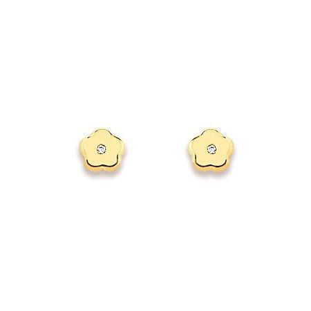 Clous d'oreilles fleurs en or et zirconias