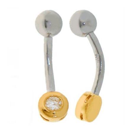Piercing de nombril or et acier