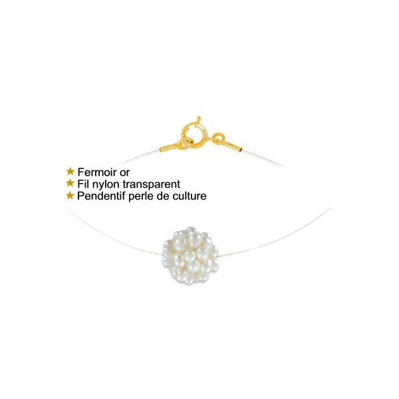 Collier en or avec fil nylon et perles