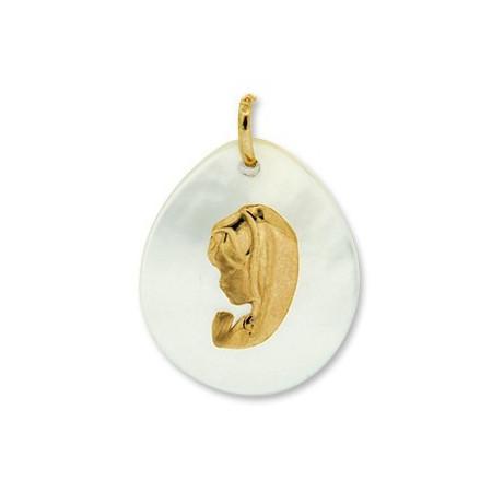 Médaille vièrge en or et nacre