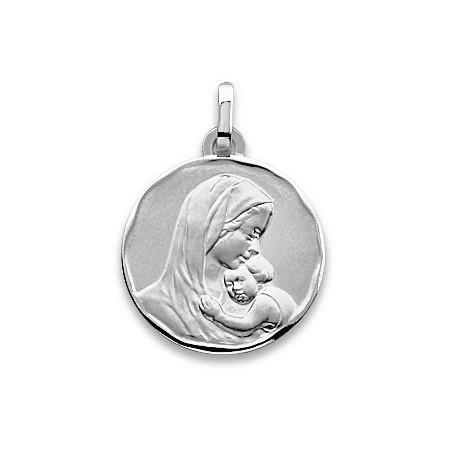 Médaille Vièrge en or blanc