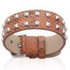 Bracelet cuir marron et acier.