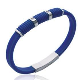 Bracelet silicone bleu et acier avec pierres.