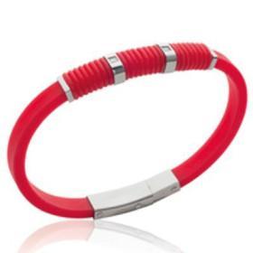 Bracelet silicone rouge et acier avec pierres.
