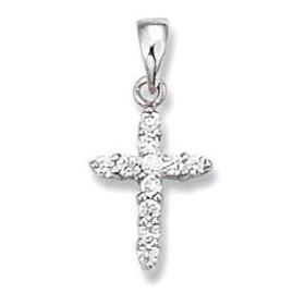 Croix en argent et oxyde de zirconium.