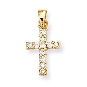 Croix plaqué or et oxyde de zirconium.