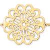 Bracelet grosse fleur ajourée plaqué or.