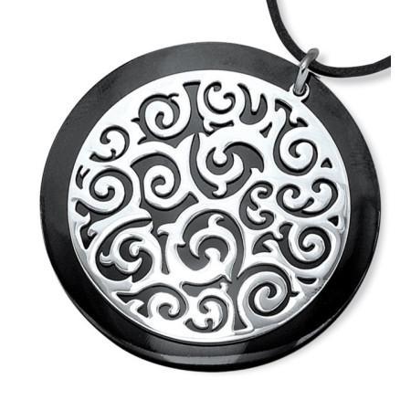 Collier en acier, céramique et cordon de cuir.