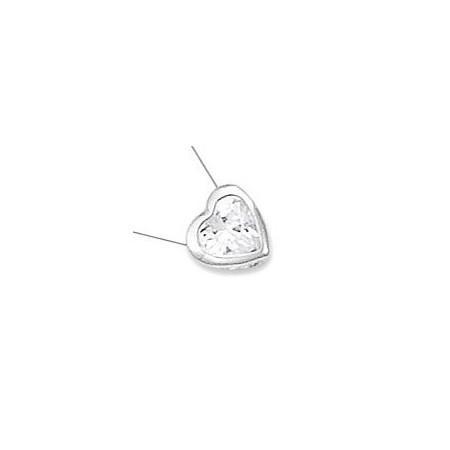 Collier coeur en argent et oxyde de zirconium.