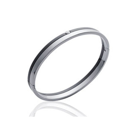 Bracelet acier 2 tons avec oxyde de zirconium.