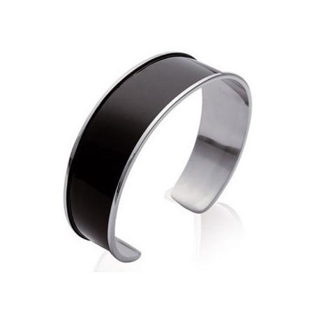 Bracelet acier et resine noir.