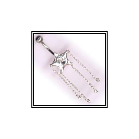 Piercing de nombril en argent étoile filante