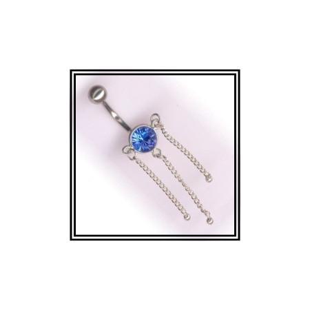 Piercing de nombril en argent cristal et pendants