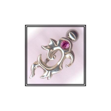 Piercing de nombril en argent symbole