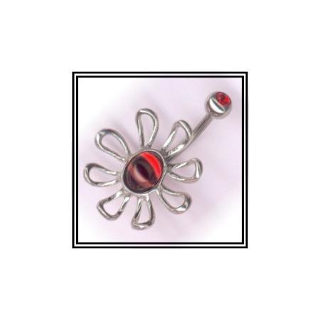 Piercing de nombril en argent pétale et coeur ovale