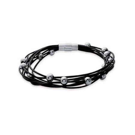 Bracelet en acier et caoutchouc.