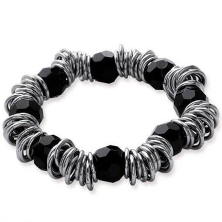 Beau bracelet acier et verre noir.