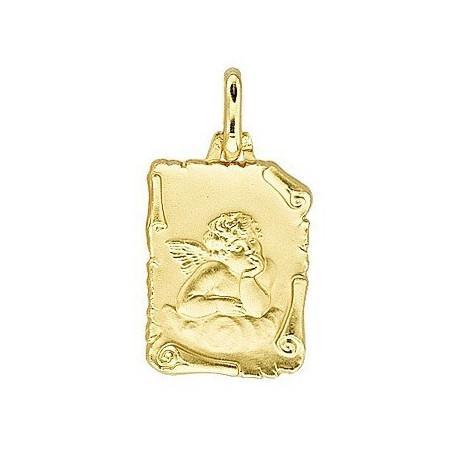 Médaille parchemin ange plaqué or.