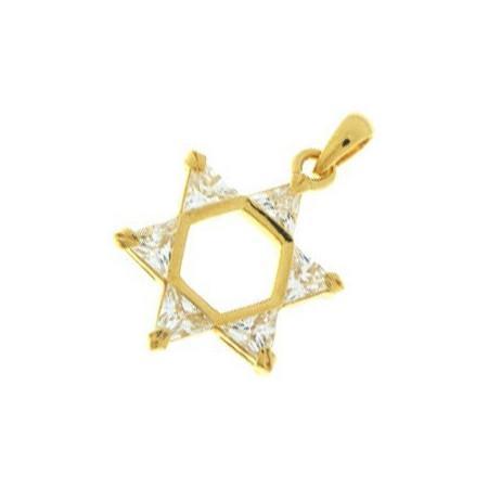 Pendentif étoile de David plaqué or.