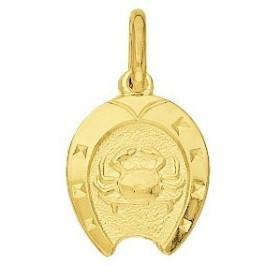 Pendentif zodiaque fer à cheval Cancer plaqué or.