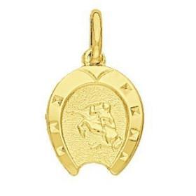 Pendentif zodiaque fer à cheval Sagittaire plaqué or.