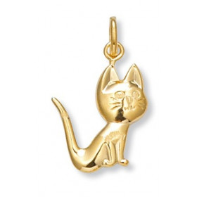 Pendentif chat assis plaqué or