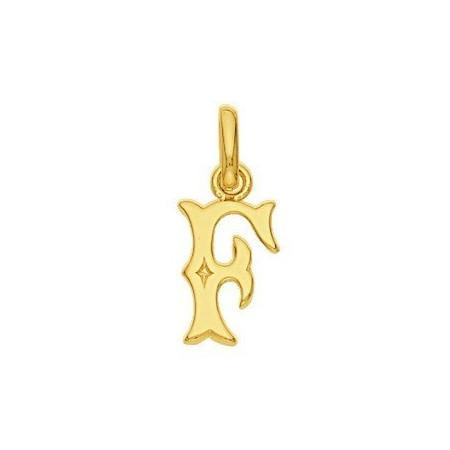 Pendentif lettre F plaqué or