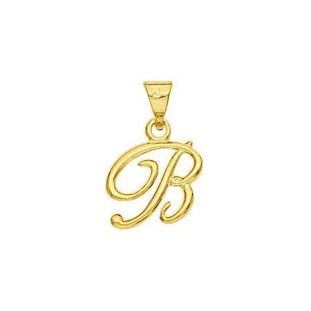 Pendentif lettre B plaqué or.