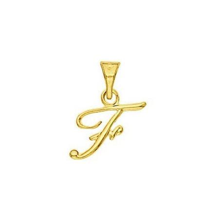 Pendentif lettre F plaqué or.