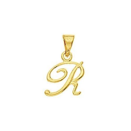Pendentif lettre R plaqué or.