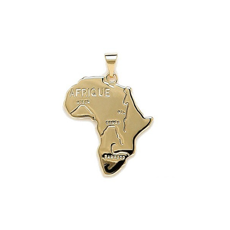 Pendentif carte d'Afrique plaqué or.
