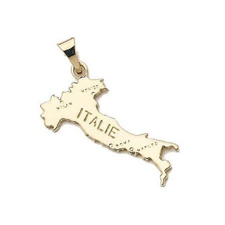 Pendentif plaqué or carte de l'Italie
