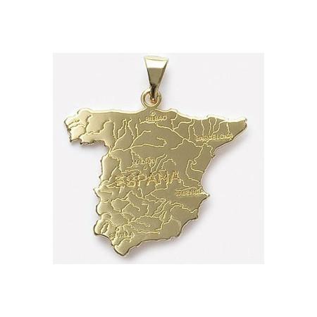 Pendentif plaqué or carte d'Espagne