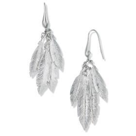 Boucles d'oreilles plumes en argent.