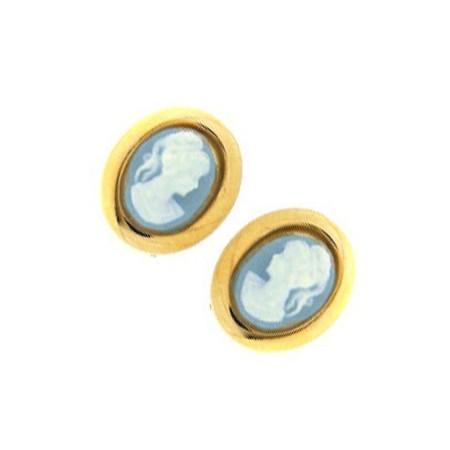 Clous doreilles plaqué or avec camées bleue