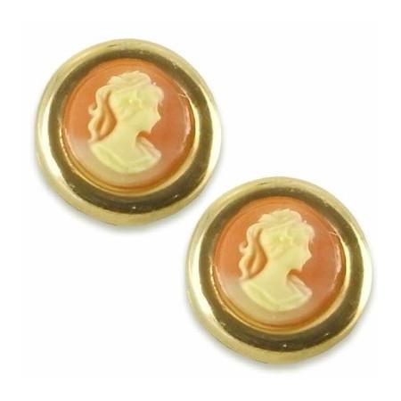 Clous doreilles plaqué or avec camées rouge