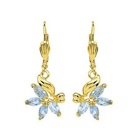 Boucles d'oreilles plaqué or et cristal bleu.