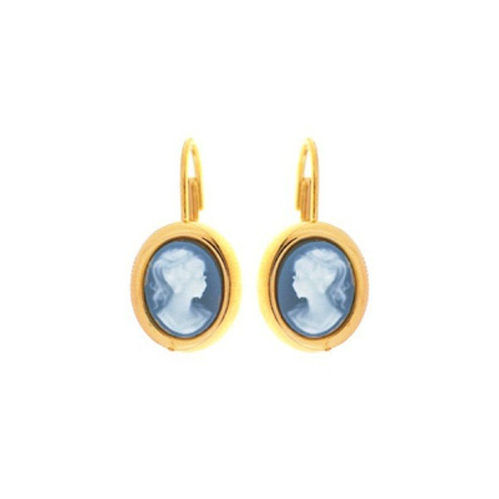 Boucles d'oreilles plaqué or et camées