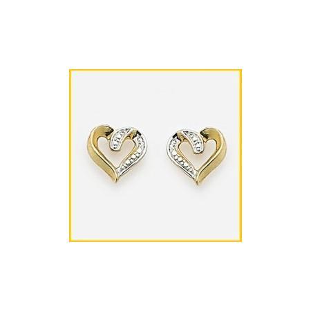 Clous doreilles plaqué or bicolore en formes de coeurs