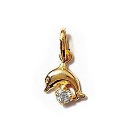 Pendentif plaqué or dauphin avec zirconium