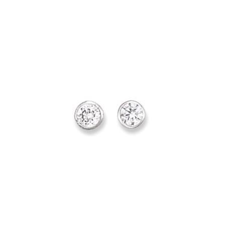 Clous d'oreilles en argent et oxyde de zirconium.