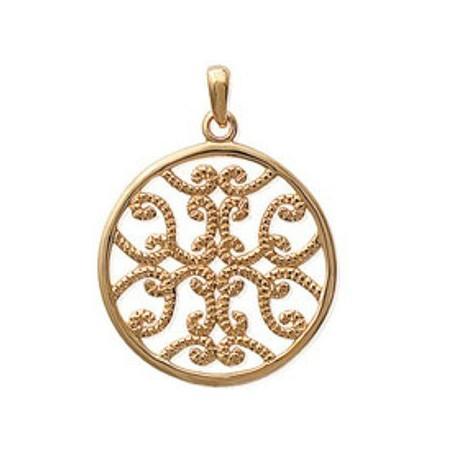 Très beau pendentif plaqué or filigrané.