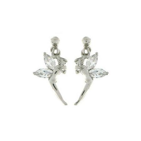 Boucles d'oreilles fée en argent avec oxydes de zirconium blanc.