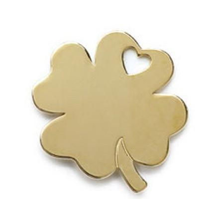 Pendentif trèfle à 4 feuilles en plaqué or.