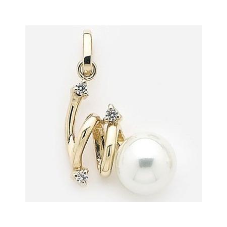 Pendentif plaqué or avec perle.