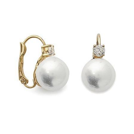 Boucles doreilles plaqué or et perles.