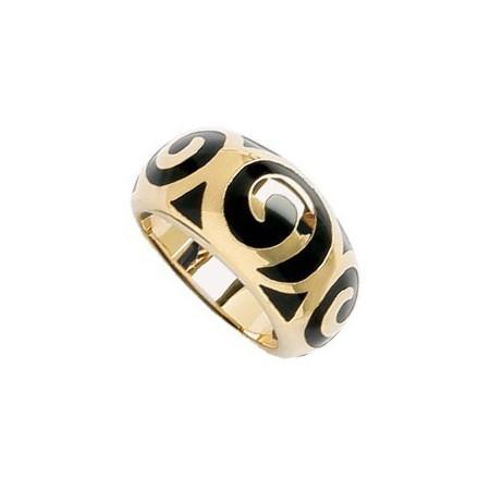Bague plaqué or avec motifs spirales en résine noir