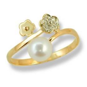 Bague or fleur avec perle