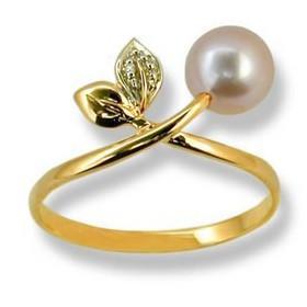 Bague or feuilles avec perle