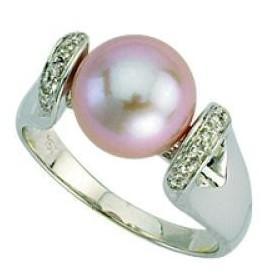 Bague or, perle et diamants
